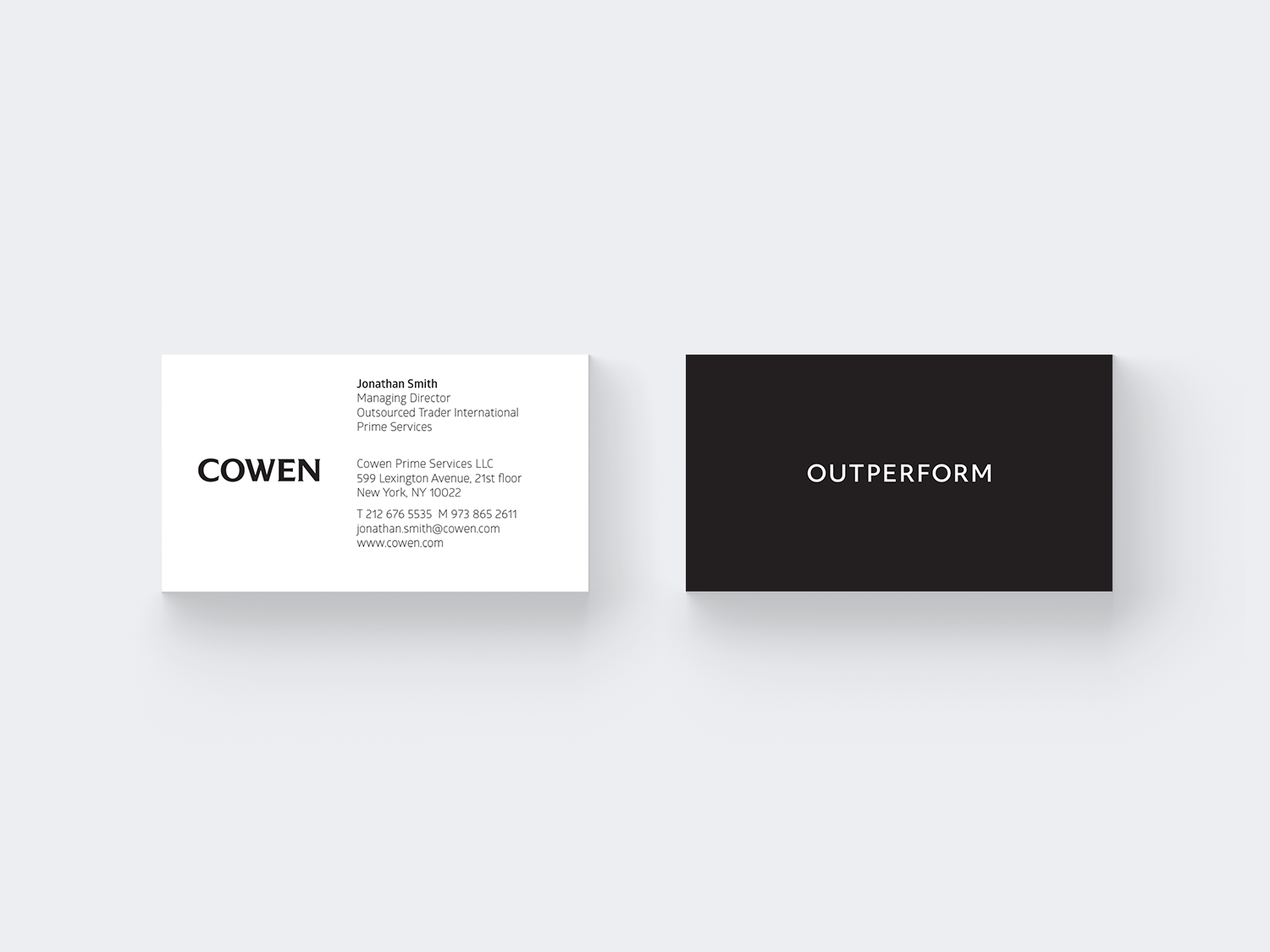 Cowen business card front and back (with Outperform tagline)