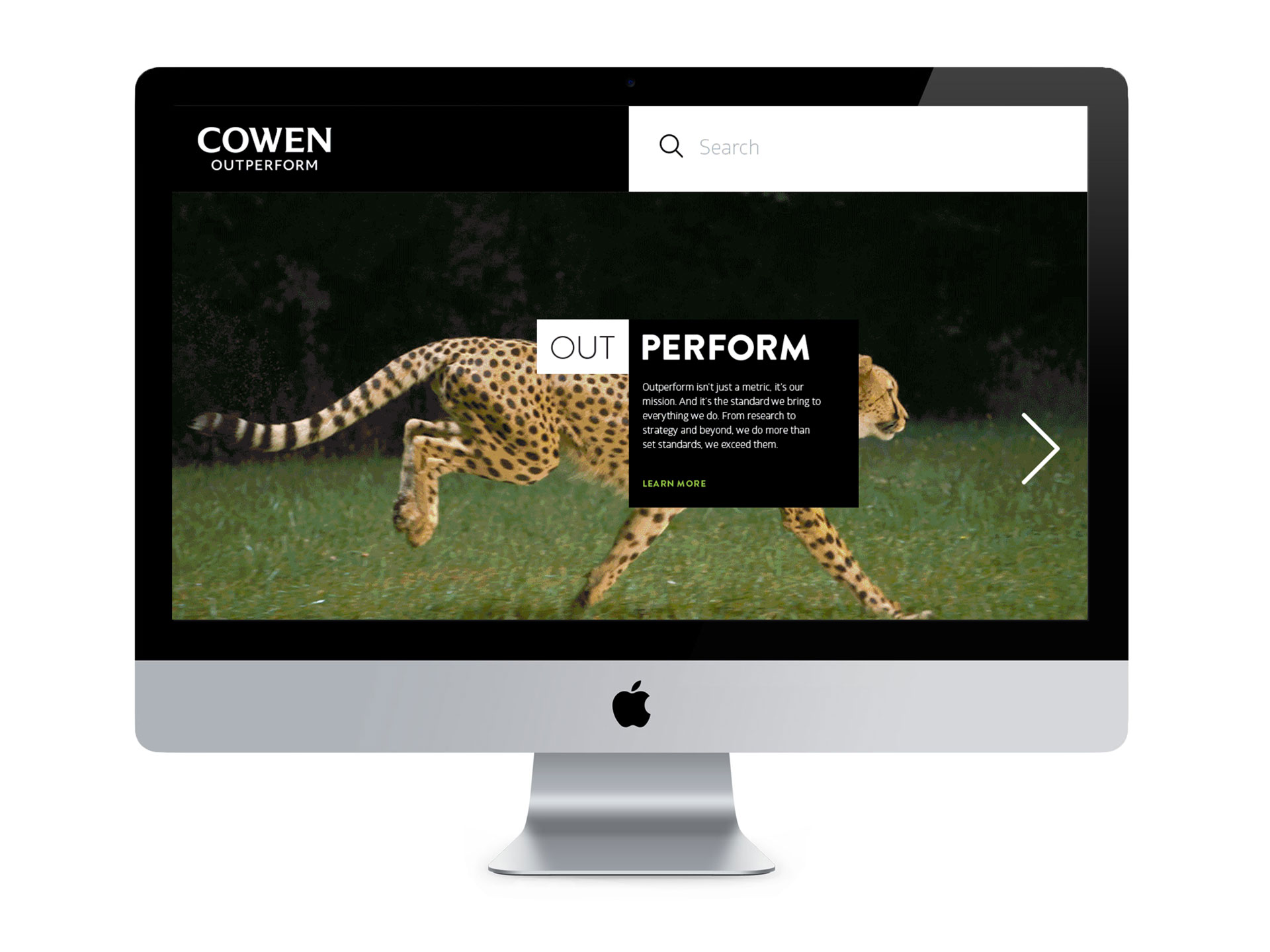 Rebranded Cowen homepage showing Outperform message
