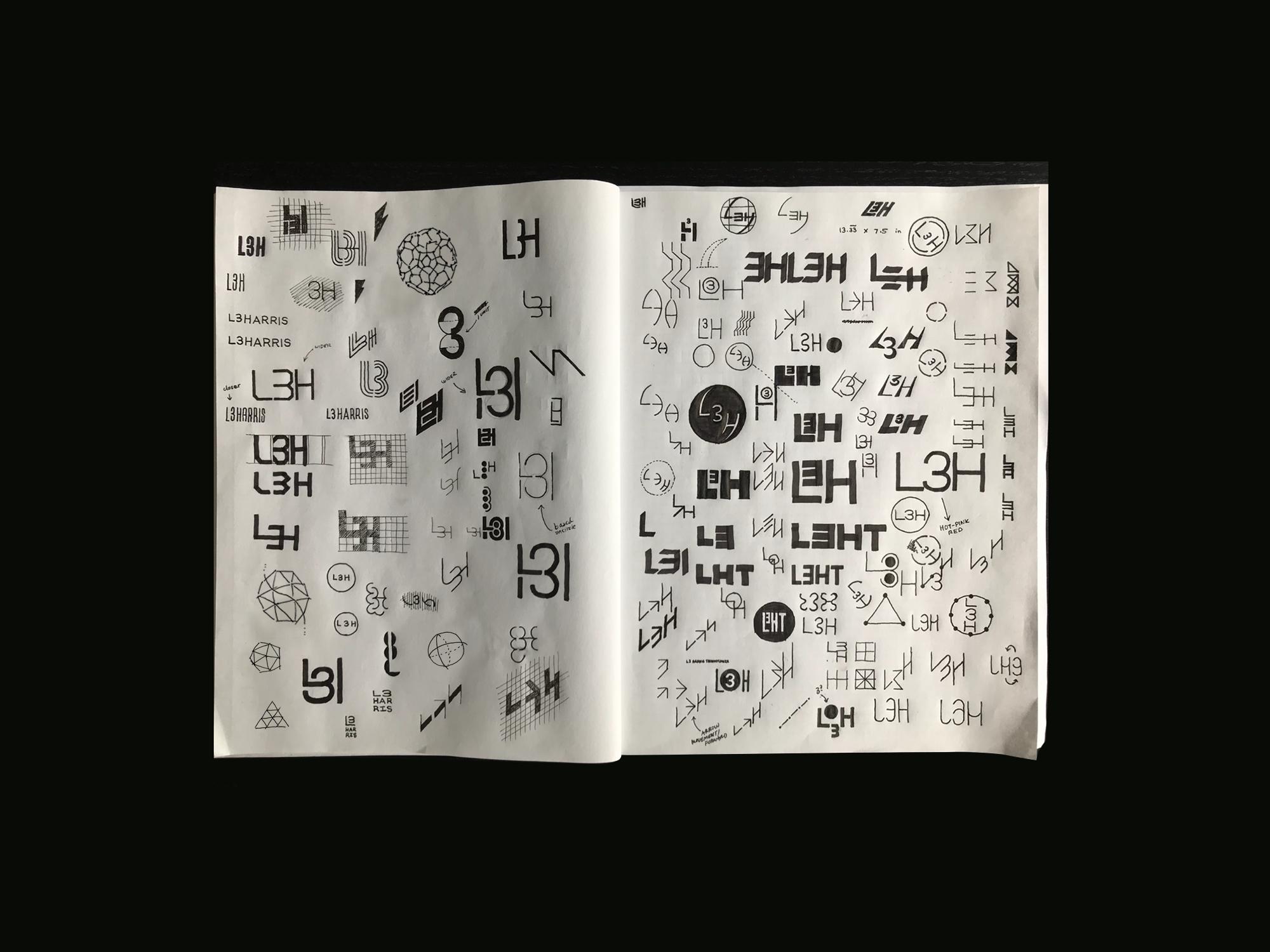 Sketchbook of logo concepts for L3Harris