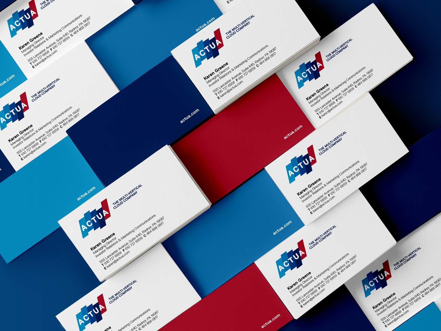 Images of Actua business cards (front & back)
