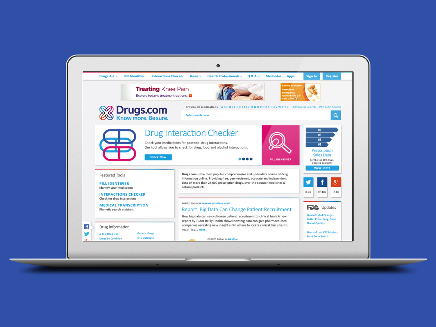 Image of Drugs.com website