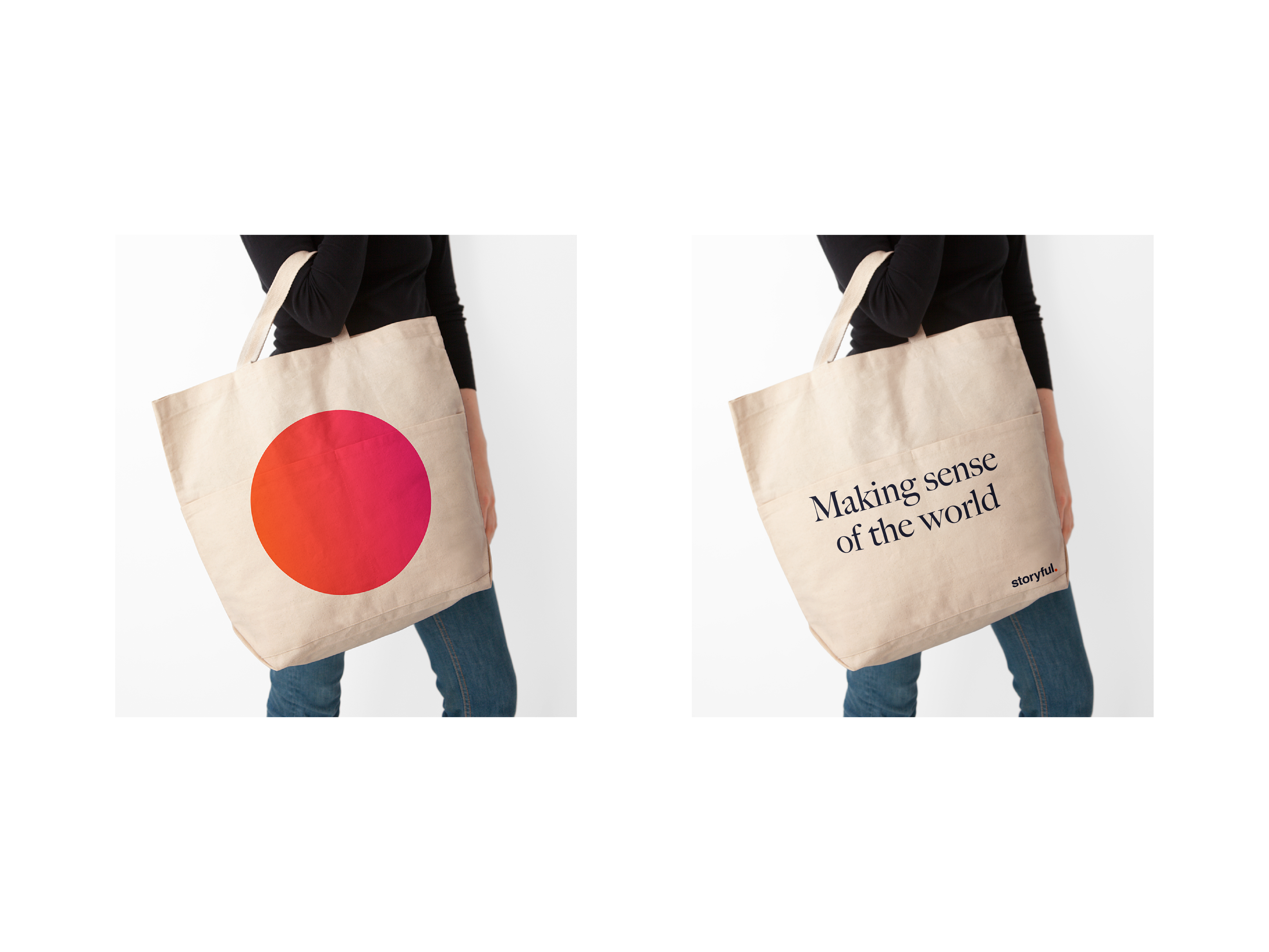 Tote bag mockup for Storyful