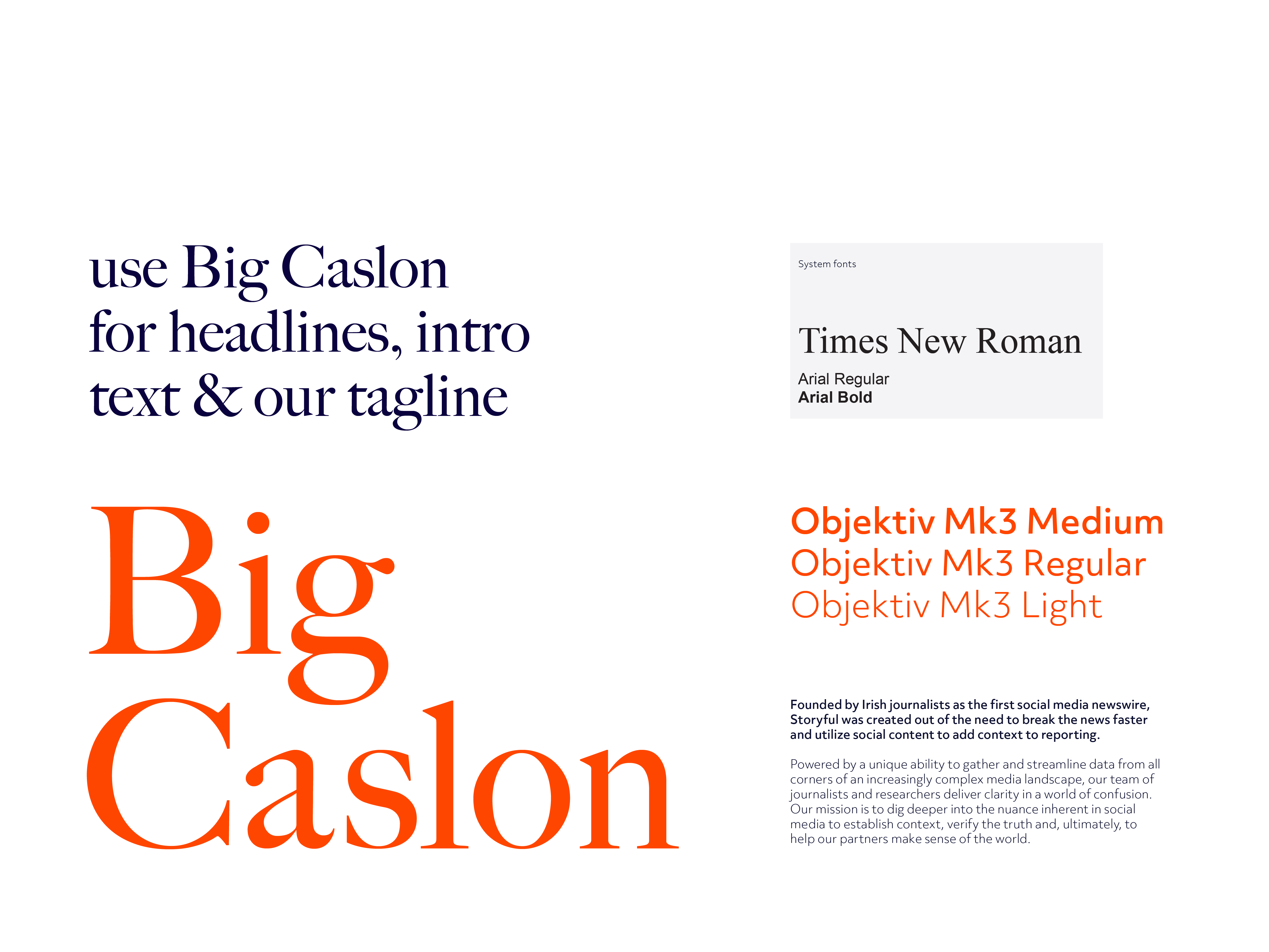 Type samples and styles for Storyful rebrand