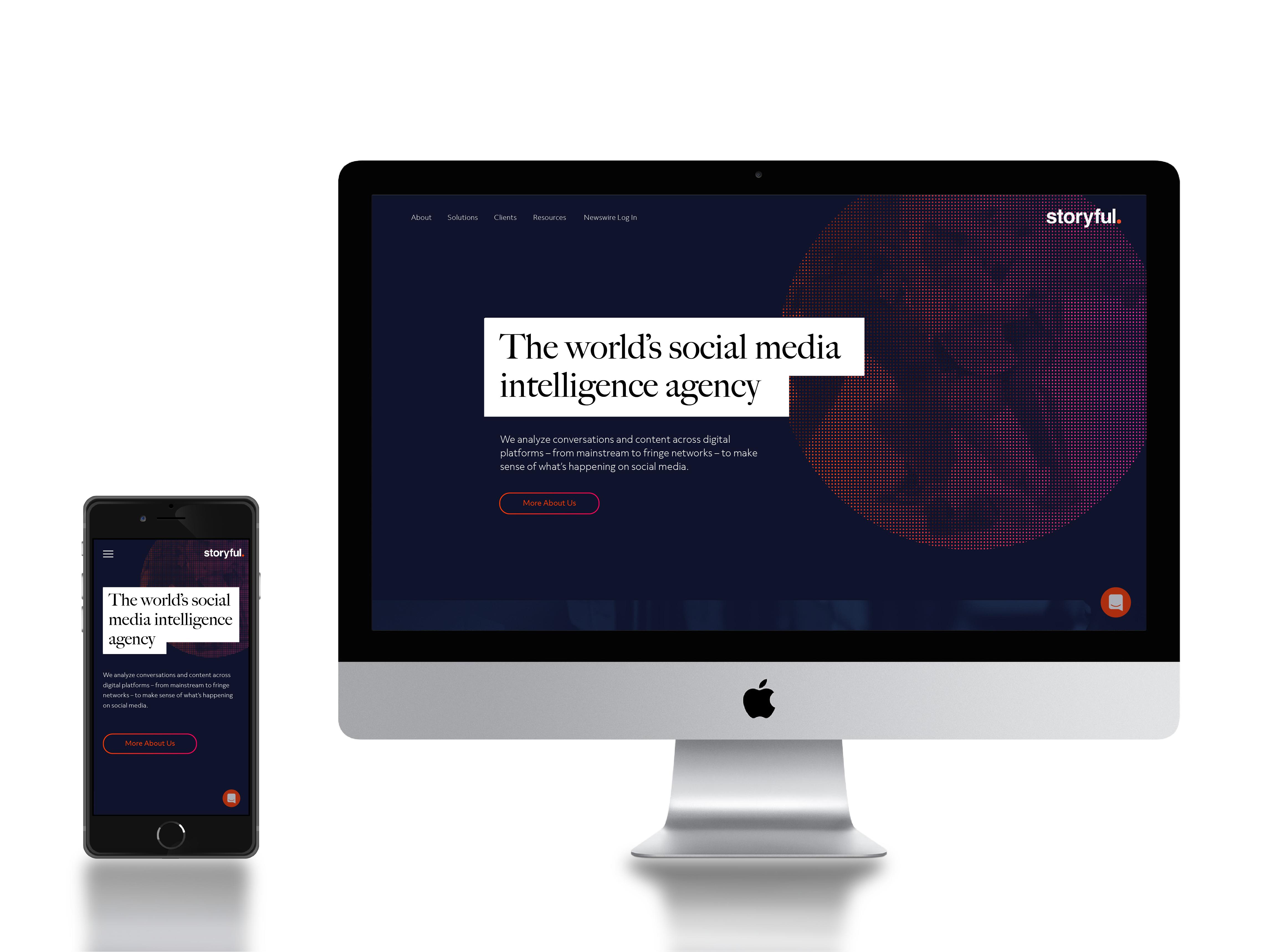 Web design for Storyful on mobile and desktop