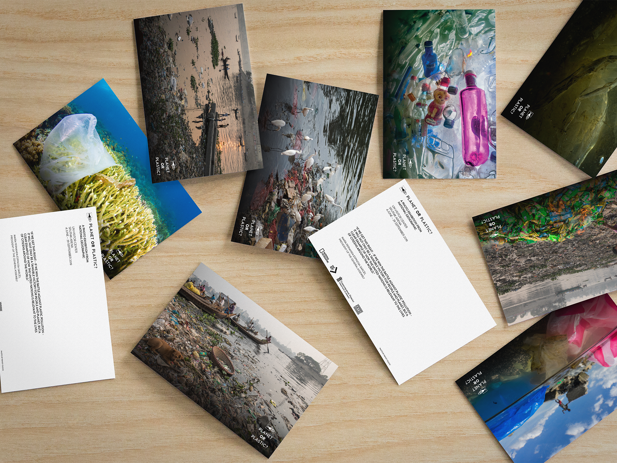 Postcards created between TM, Nat Geo, and Play It Out to raise environmental awareness
