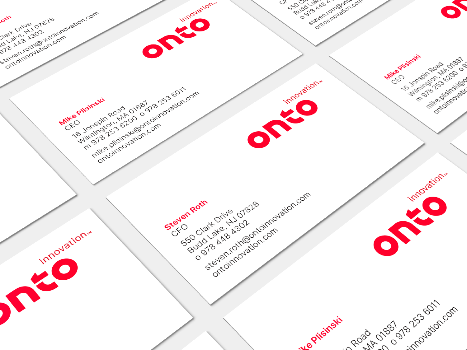 Onto Innovation Business cards, information only printed on the front