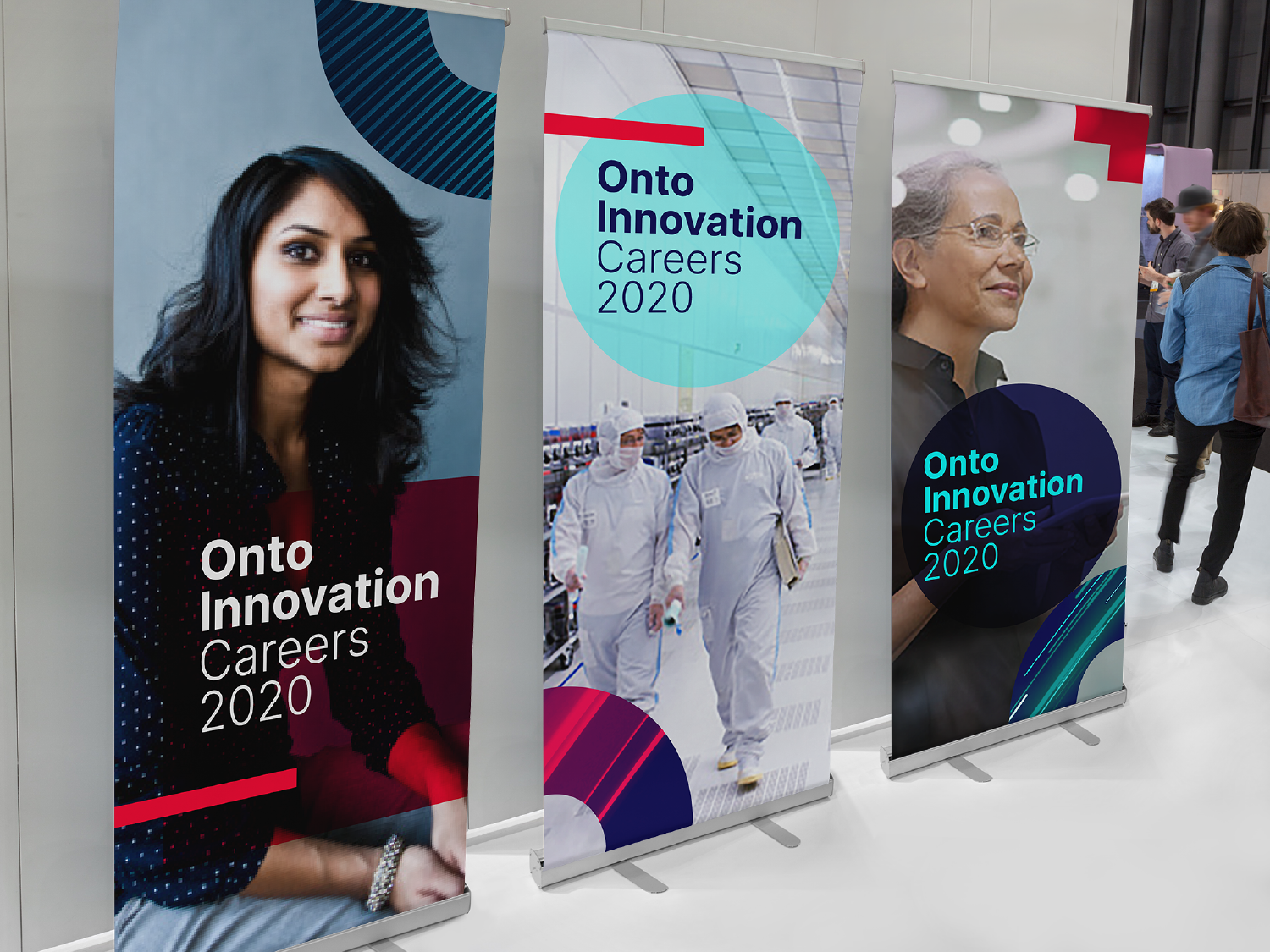 Career fair banners for Onto Innovation, utilizing graphic elements developed for the brand